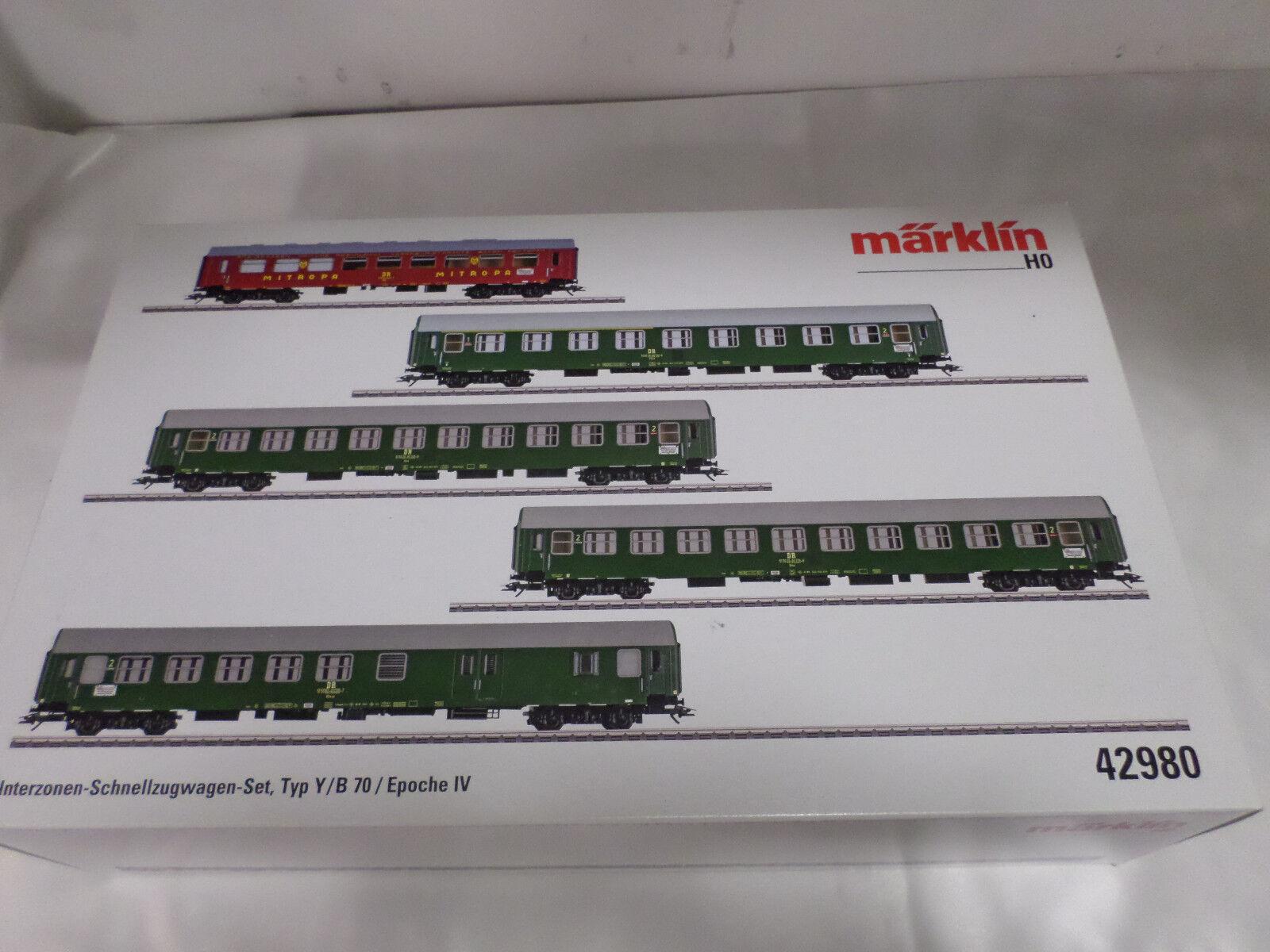 Marklin 42980 HO Inter-Zone Express Train Passenger Car Set, Type Y/B 70.