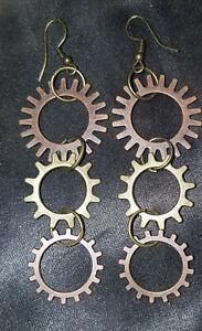Mixed Metal Steampunk Gears Steampunk Pierced Earrings, Gothic, Edwardian