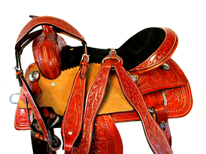 RANCH SHOW WORK TRAIL BARREL  HORSE LEATHER 15  16  SADDLE FLORAL HAND TOOLED  online store