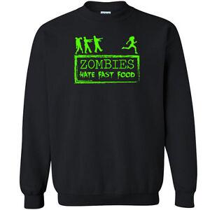 2ef2aee07 598 Zombies Hate Fast Food Crew Sweatshirt funny scary walking tv ...