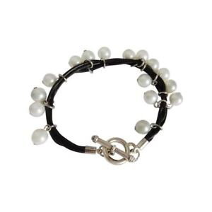 Leather and Faux Pearl Costume Fashion Bracelet
