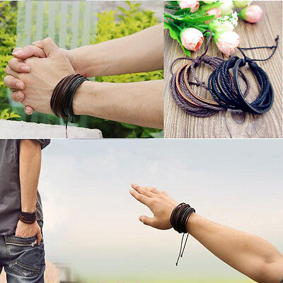 Leather Bracelet Bracelet Braided Rope Surfers Woven Black Brown New