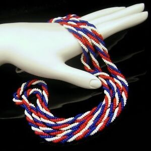 Patriotic-Red-White-Blue-Braided-Glass-Seed-Beads-Necklace-Vintage-54-Inch-Long