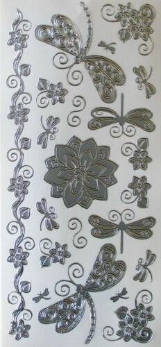 DRAGONFLIES /& FLOWER TWIRLS PEEL OFF STICKERS GOLD OR SILVER