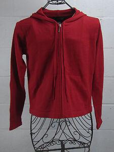 NWT-Ellen-Tracy-Company-Red-Women-039-s-Hooded-Zip-Up-Knit-Sweater-M-Medium-198