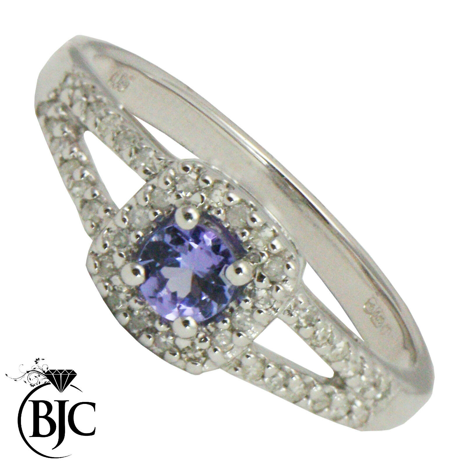 BJC 9 Ct OR white TANZANITE & diamant serti size N Coussin Bague R65