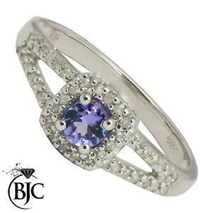 Bjc-9CT-Oro-Blanco-Tanzanita-y-Diamante-Tamano-N-Almohadon-Anillo-R65