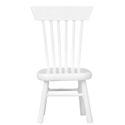 1//12 casa de muñecas en miniatura muebles de comedor Silla De Madera Blanco J5X4 20X