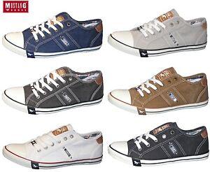 hot sale online 374c0 b8663 Details zu MUSTANG Herren Sneaker Canvas Halbschuhe Slipper Schnürer  4058-305 REDUZIERT
