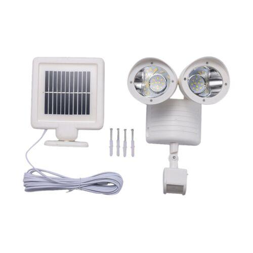 Motion Sensor Solar Panel Light Dual Head Security Floodlight 22 LED Outdoor New