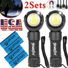 2x Portable Rechargeable Cob Led Flashlight Magnetic Work Lamp With Battery Ba