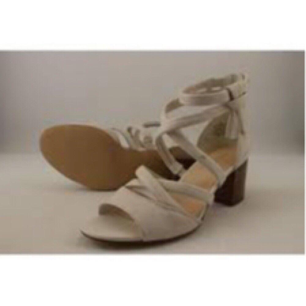 Nine West vertroom 6 M M M Offblanc blanc Open Toe Faux Leather Block Heel Sandals a104d8