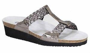 0a2b623b0b8a7 Details zu Ara ELBA Kork Fußbett Pantoletten Flecht titan metallic silber  Leder NEU