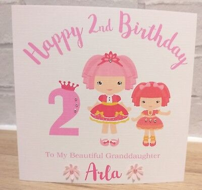 Personalised 1st 2nd 3rd Birthday Card Rag Doll Any Age//Name//message