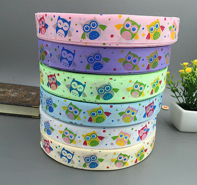 "Many choice 5 -10Yards 1 ""(25mm)  owl pattern Grosgrain Ribbon 100% Polyester"