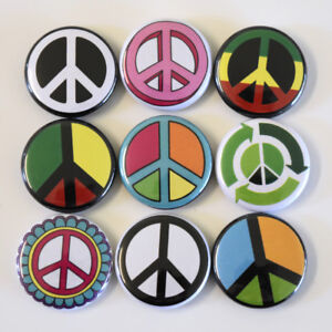 Peace-Sign-Symbol-Badge-Set-9-x-One-Inch-25mm-Badges-Buttons-Pins-Hippy-Retro