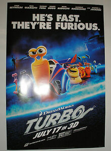 "2013 TURBO 13"" by 20"" MOVIE POSTER INDIANAPOLIS 500 INDY CAR WALT DISNEY snail"