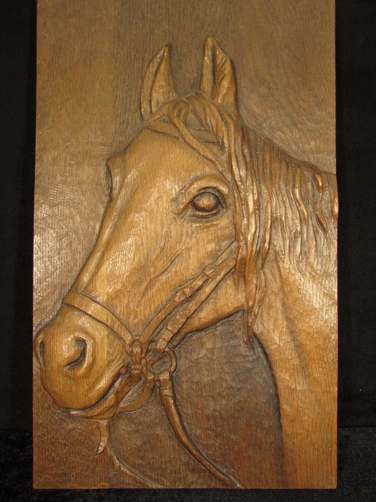 Pferdekopf-Relief, Eiche handgeschnitzt brown gebeizt ca 53 x 32 x 2,5 cm wieher