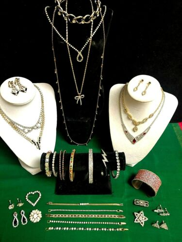 LOT-  COLLECTION OF VINTAGE & FASHION RHINESTONE J