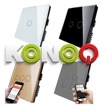 KONOQ Luxury Glass Panel Touch LED Light Smart Switch:ON/OFF,Dimmer,Remote,WIFI