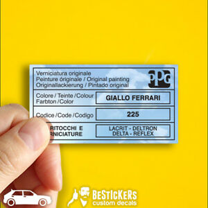 Adesivo etichetta Lancia delta evoluzione HF 16v 4x4 PPG Giallo Ferrari 225