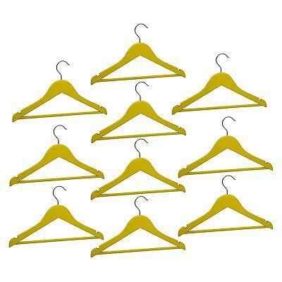 10 Appendiabiti In Legno Per Bambini Kids Clothes Hanger Barra Pantalone Giallo-