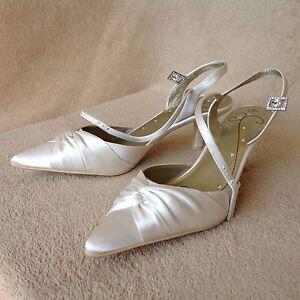 Image Is Loading New Ivory Colour Satin Wedding Shoes UK 4