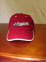 Bacardi Mens Red & Silver Bat Logo Cotton Adjustable Strap Back Baseball Hat Cap
