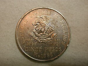 1952-M Mexico 5 Pesos, KM #467, VF, 0.720, ASW 0.6430