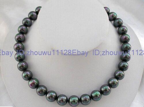 "Natural AAA 12 mm noir South Sea Shell Pearl Fashion Collier 18/"" BA-1330"