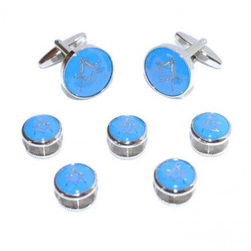 Azul Y Plata Masónica Gemelos /& 5 Botones Tachas Mason formal actual Caja De Regalo