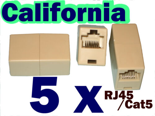 Lot 5 RJ45 CAT5 CAT5E Network Ethernet Connector Adapter Coupler Joiner 8P8C