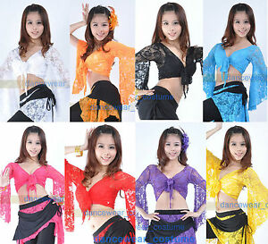 7ce677f05278f3 New Sexy Belly Dance Bolero Lace Top Flared Blouse 11 Colors Belly ...