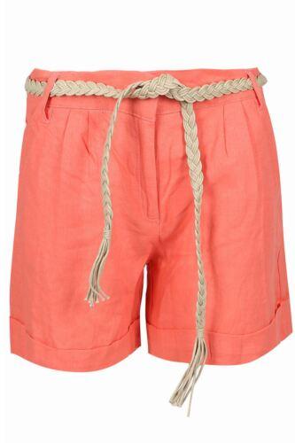 New Women Linen Casual Summer Shorts Ladies Belted Pocket Hot Pants Cotton Short