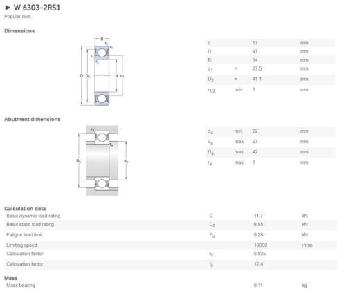 SKF 6307-2RS1 Deep Groove Ball Bearings 35x80x21 mm