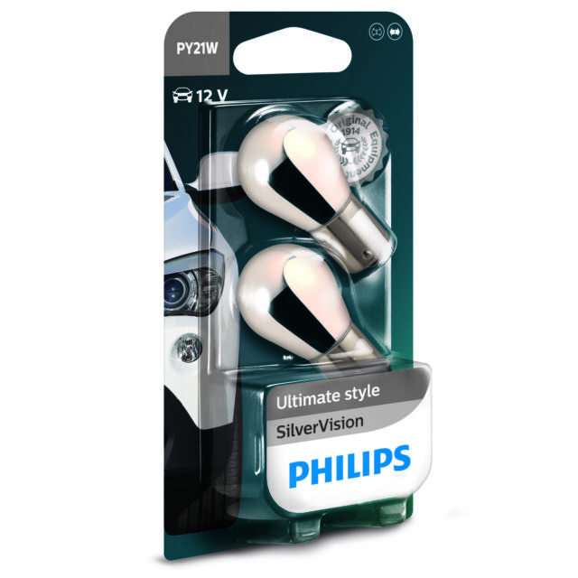 Philips SilverVision Silver Vision PY21W Indicator Car Bulbs (Twin)