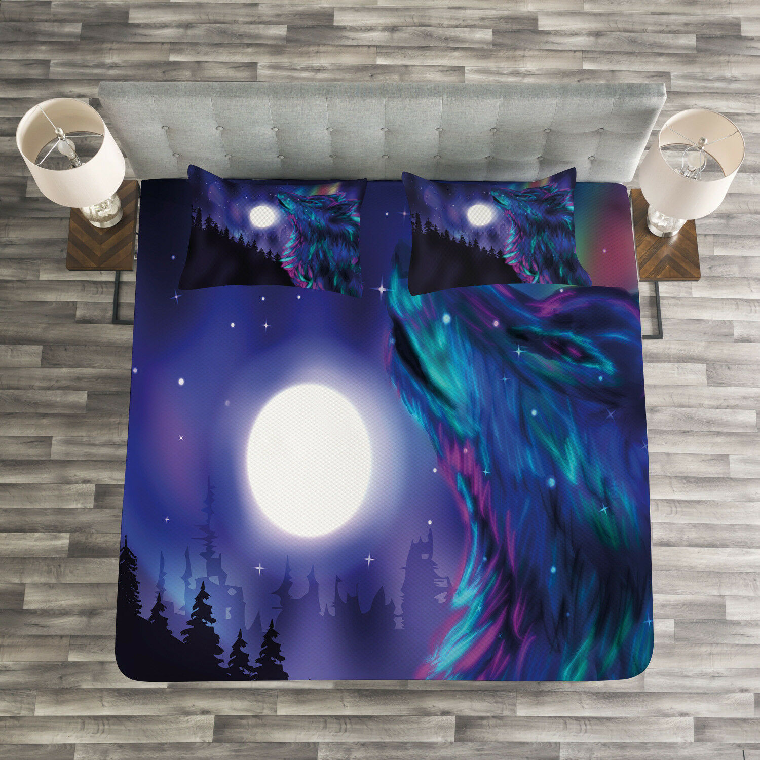 Moon Quilted Bedspread & Pillow Shams Set, Aurora Borealis and Wolf Print