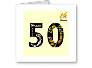 Unique-Typographic-Personalised-50th-Gold-Birthday-Card-Gift-Male-Female