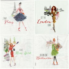 4x Single Table Party Paper Napkins for Decoupage Decopatch City Girls -Mix