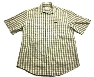 Carhartt-Mens-Brown-Plaid-Short-Sleeve-Button-Front-Shirt-Size-Medium