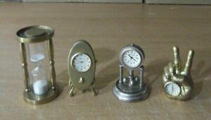 Mini-Relojes-sobremesa-coleccion-lote-de-4-arena-y-a-pila-analogicos