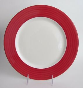 DUDSON Fine China Red Rim Dinner PLATES 11 3/8\