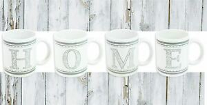 Set-of-4-Grey-amp-White-Porcelain-Mugs-H-O-M-E-Initials-Tea-Coffee-Kitchen-Cups