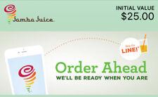 $25.00 Jamba Juice $25 E - Gift Card (PLEASE READ DESCRIPTION)