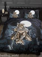 Loups Garou Double Bed Duvet Cover Set Alchemy Gothic Werewolf Moon Bats Black