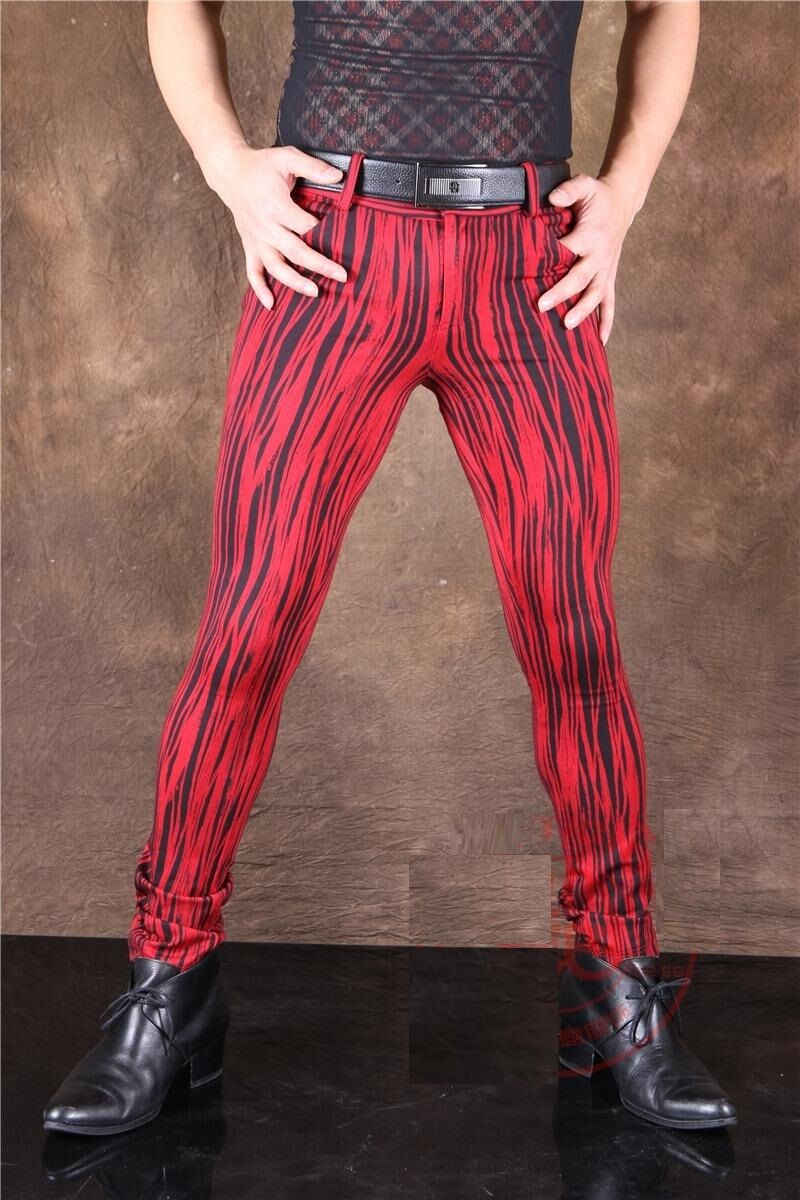Men Sexy Charm Pants Trousers Slim Elastic Jeans Stretchy Casual Red