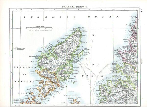 1897 Viktorianisch Landkarte ~ Schottland (teil 1) Hebrides Or Western Inseln Verkaufsrabatt 50-70%