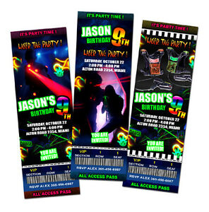 Laser tag lazer birthday party invitation ticket custom photo image is loading laser tag lazer birthday party invitation ticket custom stopboris Image collections