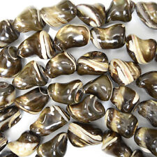 """16-24mm black mother of pearl mop nugget beads 15.5"""" strand"""