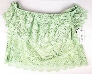 66a8444f4ce Image is loading Guess-Womens-Sasha-Green-Lace-Ruffled-Crop-Top-